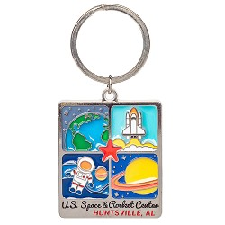 Rocket Center Polished Nickel Metal Keychain