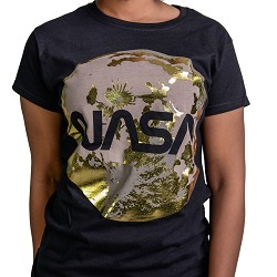 Gold Foil Moon Ladies T-Shirt BLACK AS
