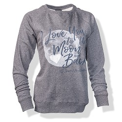Moon & Back Ladies Crew Neck Sweatshirt CHARCOAL AM