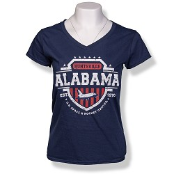 Americana Shield Ladies V-Neck T-Shirt